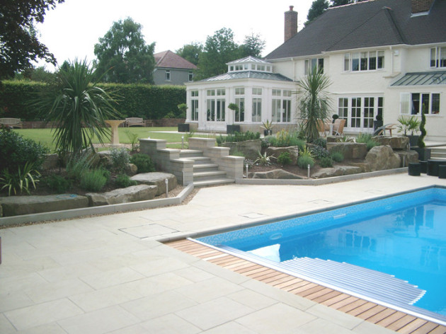 diamond cut sandstone paving and swimming pool edging