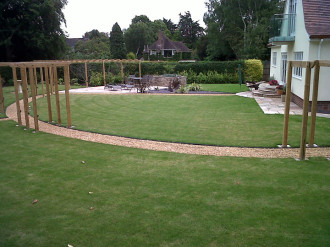 Pergola frame over gravel path