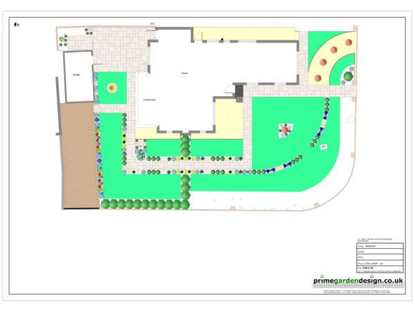 garden design cad plan showing paving lawn and planting - Garden Design Cad