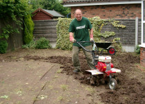 Chris Linforth operating a rotavator