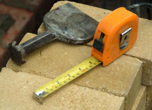 tape measure and brick chisel